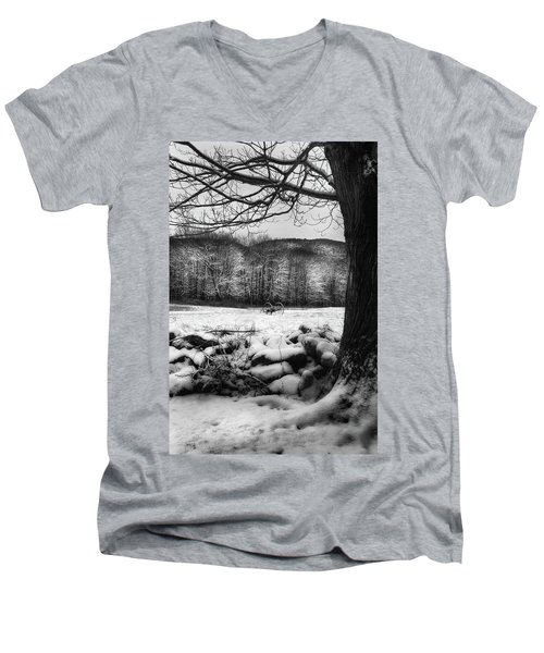 Men's V-Neck T-Shirt featuring the photograph Winter Dreary by Bill Wakeley