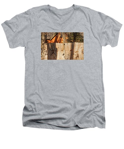 Men's V-Neck T-Shirt featuring the photograph Winter Fence by Trey Foerster