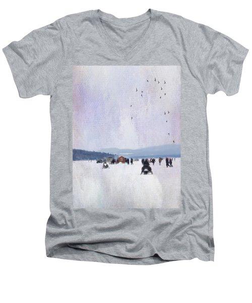 Winter Fun On The Lake Men's V-Neck T-Shirt
