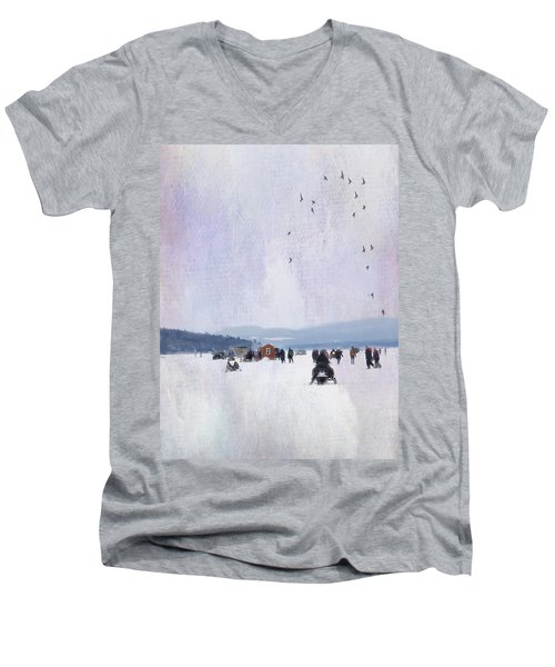 Winter Fun On The Lake Men's V-Neck T-Shirt