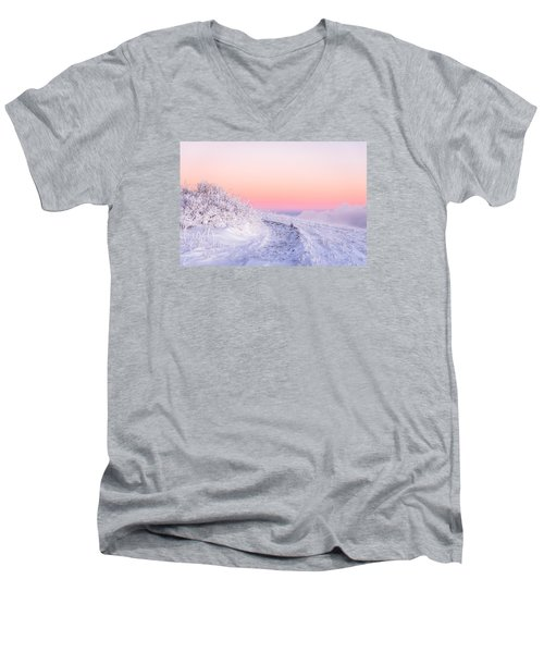 Winter Glow On Roan Mountain Men's V-Neck T-Shirt by Serge Skiba