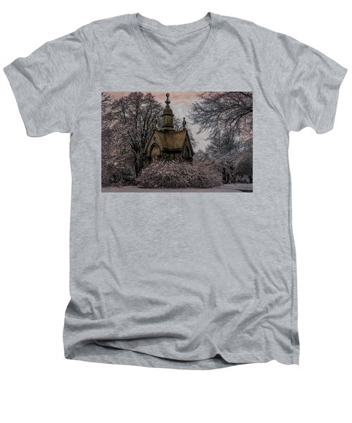 Men's V-Neck T-Shirt featuring the digital art Winter Gothik by Chris Lord