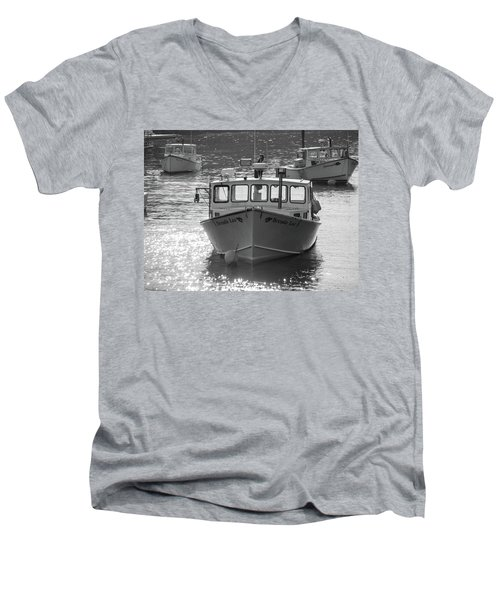 Men's V-Neck T-Shirt featuring the photograph Winter Harbor, Maine  by Trace Kittrell