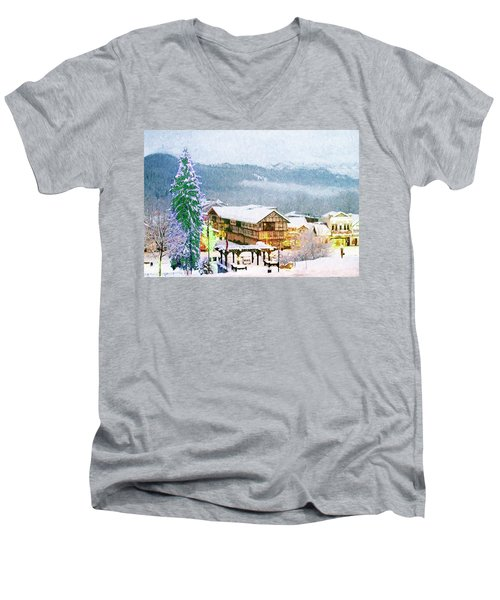 Winter Holiday In The Village Men's V-Neck T-Shirt