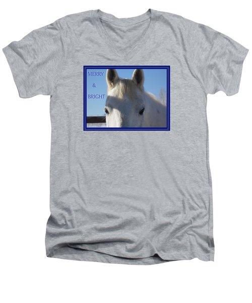 Men's V-Neck T-Shirt featuring the photograph Winter Horse Christmas by Deborah Moen