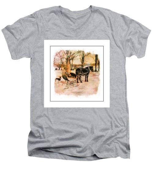 Winter Horse Sled Men's V-Neck T-Shirt