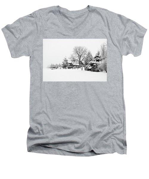 Winter In Black And White Fleckl, Germany 2 Men's V-Neck T-Shirt