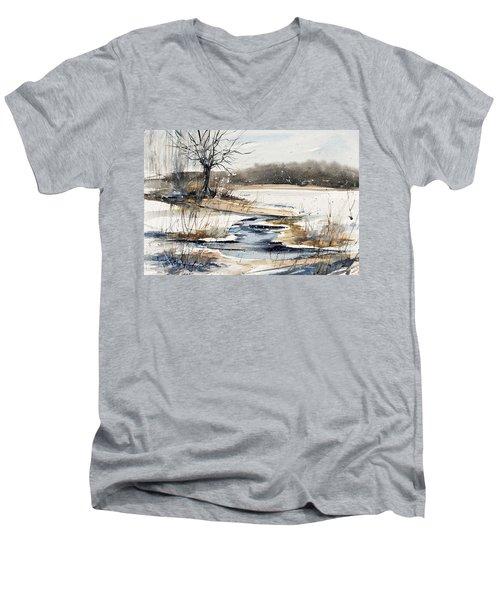Winter In Caz Men's V-Neck T-Shirt by Judith Levins