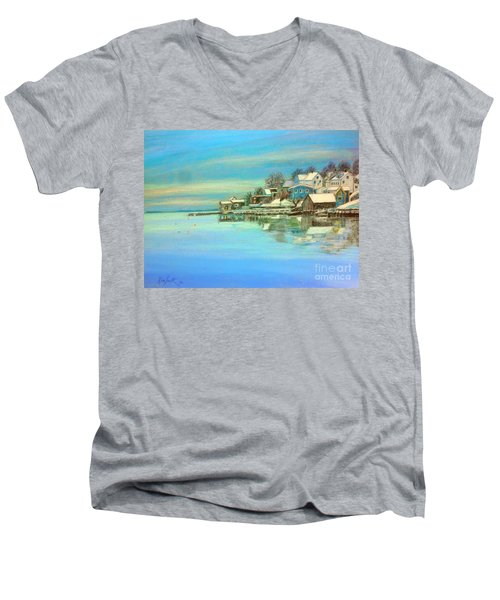 winter in Chester ,Nova Scotia  Men's V-Neck T-Shirt by Rae  Smith PAC