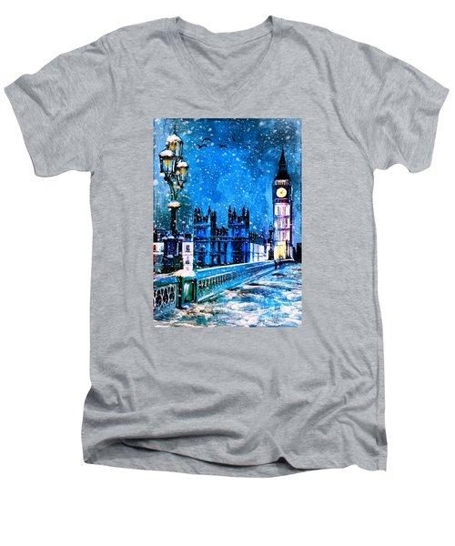 Winter In London  Men's V-Neck T-Shirt by Andrzej Szczerski