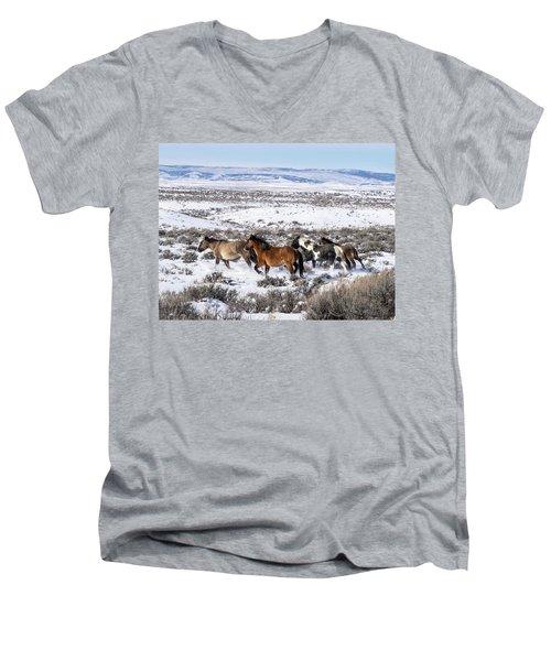 Winter In Sand Wash Basin - Wild Mustangs On The Run Men's V-Neck T-Shirt