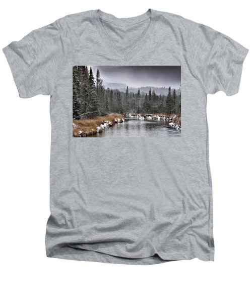 Winter In The Adirondack Mountains - New York Men's V-Neck T-Shirt by Brendan Reals