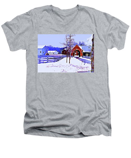 Winter In The Village Men's V-Neck T-Shirt