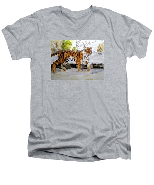 Winter In The Zoo Men's V-Neck T-Shirt by Carol Grimes