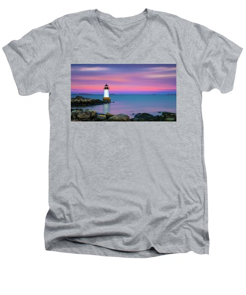 Winter Island Light 1 Men's V-Neck T-Shirt