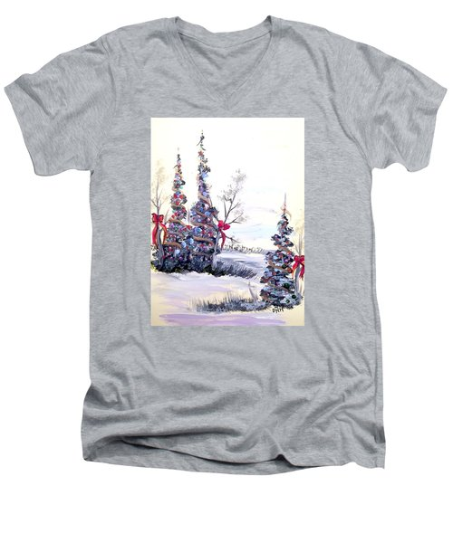 Men's V-Neck T-Shirt featuring the painting Winter Joy by Dorothy Maier