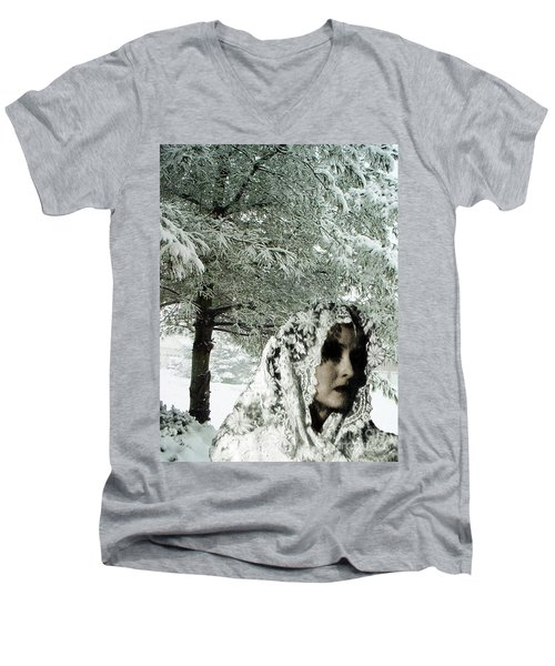 Men's V-Neck T-Shirt featuring the digital art Winter Lace by Lyric Lucas