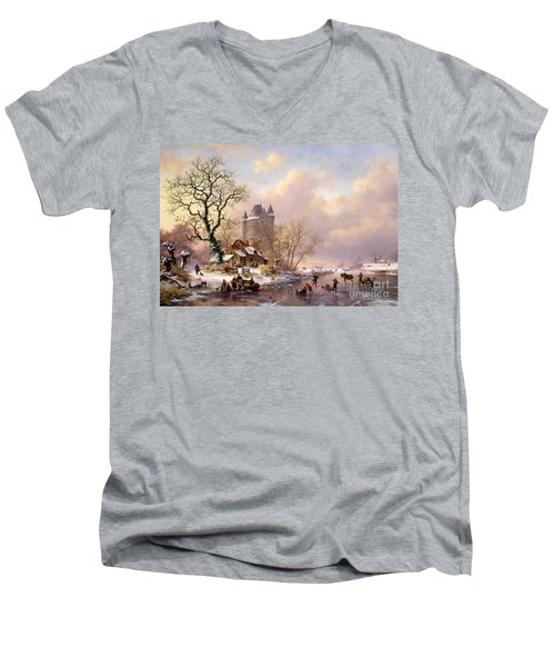 Winter Landscape With Castle Men's V-Neck T-Shirt