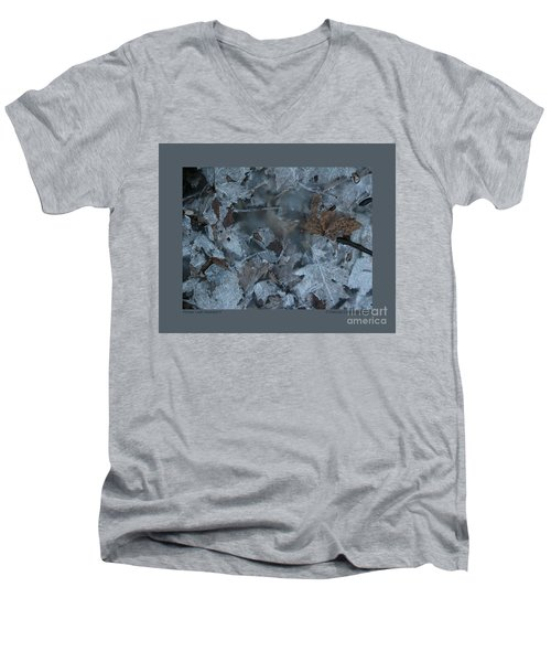 Men's V-Neck T-Shirt featuring the photograph Winter Leaf Abstract-v by Patricia Overmoyer