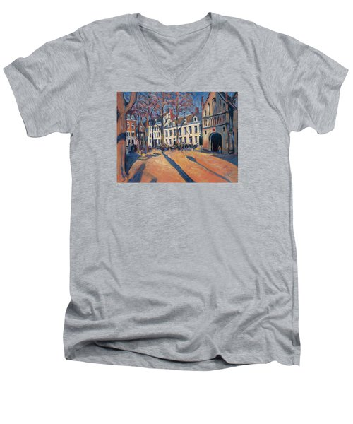 Winter Light At The Our Lady Square In Maastricht Men's V-Neck T-Shirt by Nop Briex