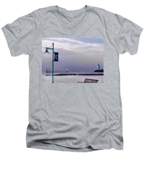 Winter Lights To Rock Point - Derivative Of Evening Sentries At The Coast Guard Station Men's V-Neck T-Shirt