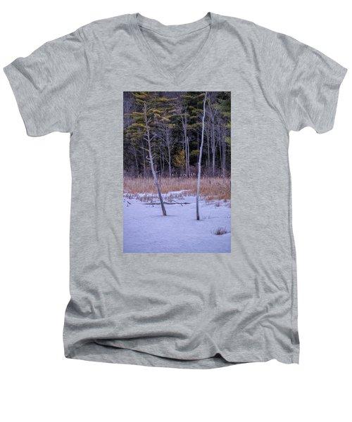 Winter Marsh And Trees Men's V-Neck T-Shirt