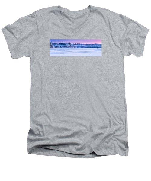 Winter Mist Baxter Lake New Hampshire Men's V-Neck T-Shirt