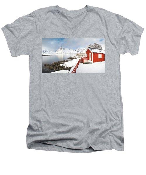 Winter Morning Men's V-Neck T-Shirt by Alex Conu