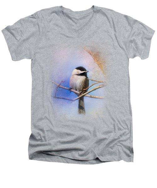 Winter Morning Chickadee Men's V-Neck T-Shirt by Jai Johnson