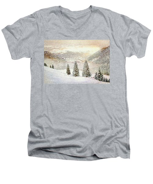 Winter Morning Men's V-Neck T-Shirt by Kai Saarto