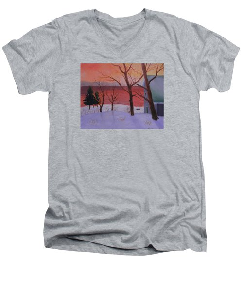 Winter Ocean Sunrise Men's V-Neck T-Shirt