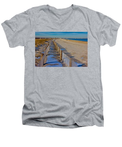Winter On Duxbury Beach Men's V-Neck T-Shirt by Amazing Jules
