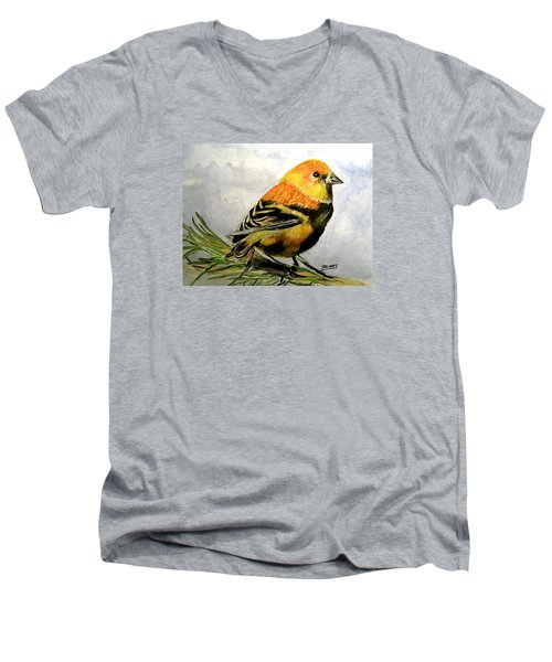 Men's V-Neck T-Shirt featuring the painting Winter Plumage On Golden Finche by Carol Grimes