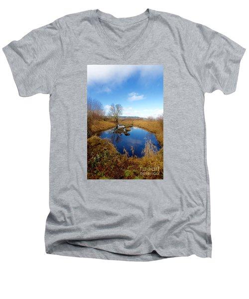 Winter Pond Men's V-Neck T-Shirt by Sean Griffin