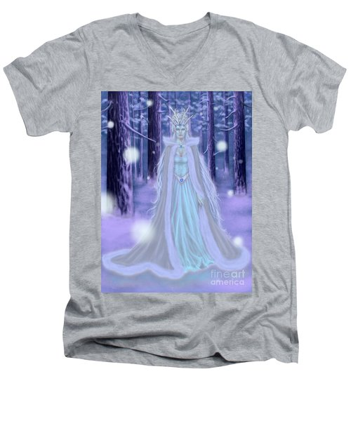 Men's V-Neck T-Shirt featuring the painting Winter Queen by Amyla Silverflame