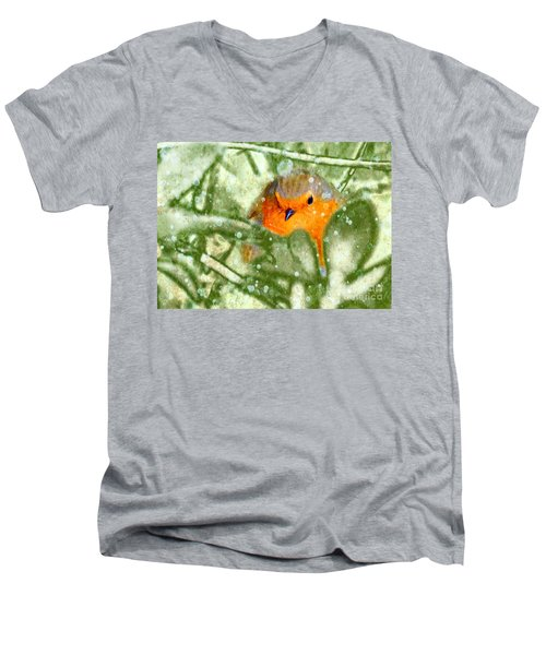 Men's V-Neck T-Shirt featuring the photograph Winter Robin by LemonArt Photography