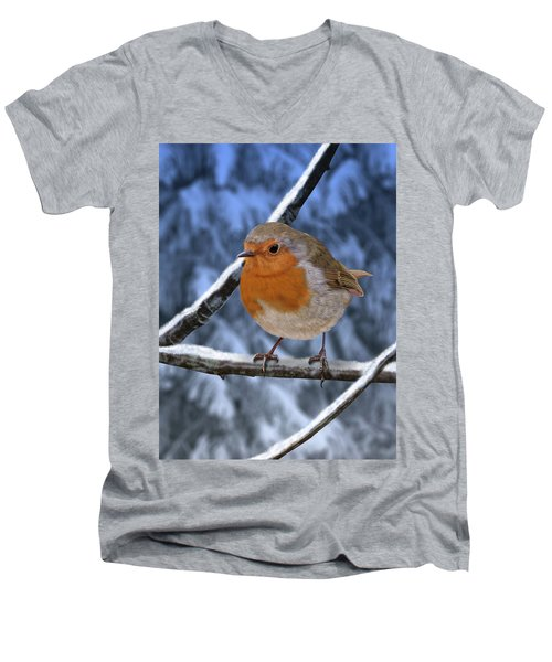 Winter Robin Men's V-Neck T-Shirt