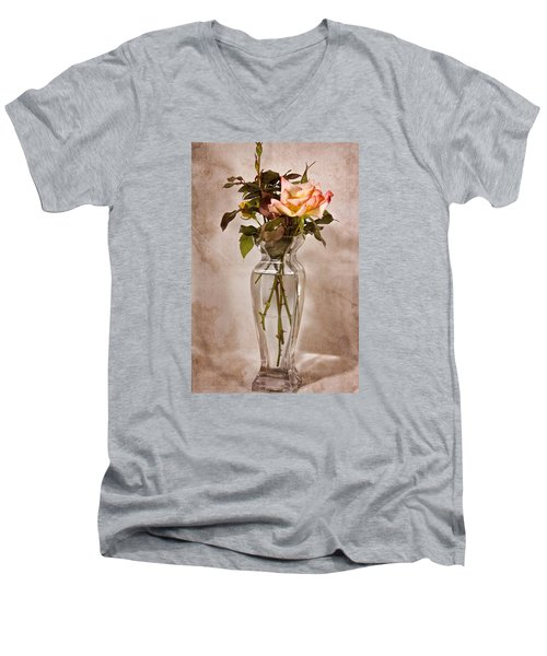 Men's V-Neck T-Shirt featuring the photograph Winter Rose by Joan Bertucci