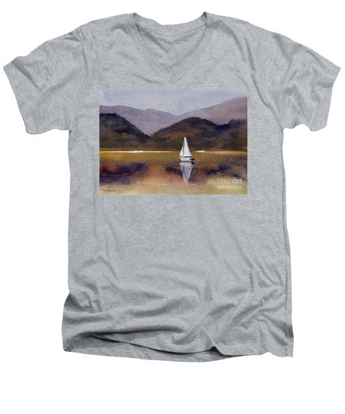 Winter Sailing At Our Island Men's V-Neck T-Shirt
