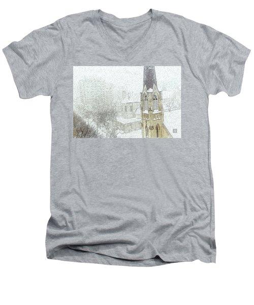 Winter Scene A La Van Gogh Men's V-Neck T-Shirt by Yvonne Wright