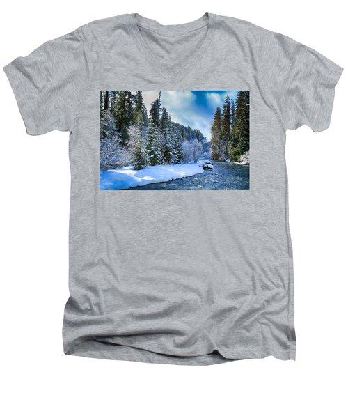 Winter Scene On The River Men's V-Neck T-Shirt by Lynn Hopwood