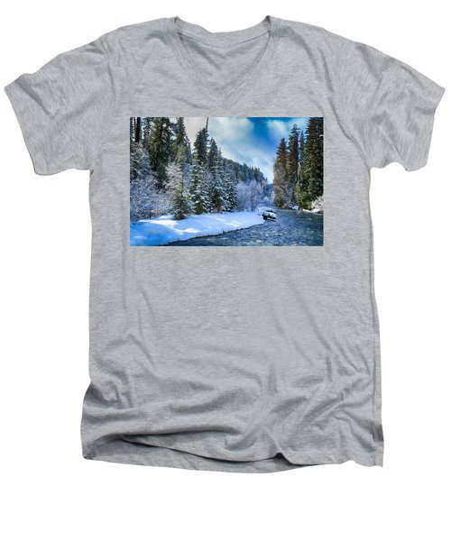 Winter Scene On The River Men's V-Neck T-Shirt