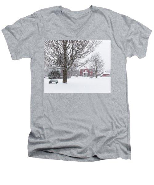 Winter Scene Men's V-Neck T-Shirt by Tim Kirchoff