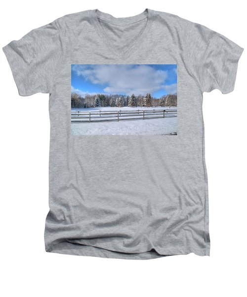 Men's V-Neck T-Shirt featuring the photograph Winter Scenery 14589 by Guy Whiteley