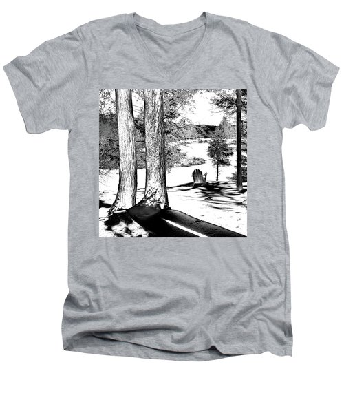 Men's V-Neck T-Shirt featuring the photograph Winter Shadows by David Patterson