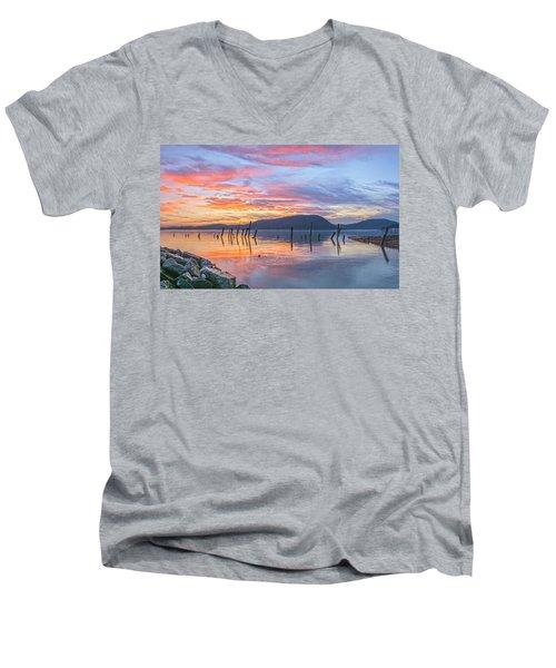 Winter Sky Woman In Peekskill Men's V-Neck T-Shirt