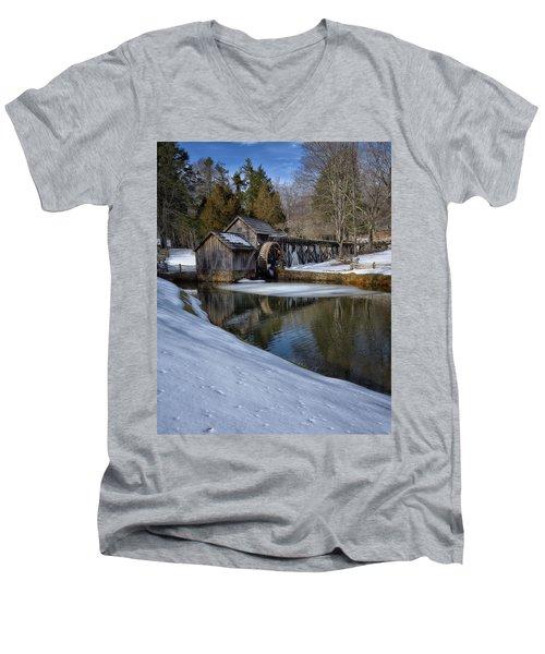 Winter Snow At Mabry Mill Men's V-Neck T-Shirt