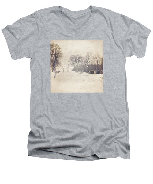 Winter Snow Storm At The Farm Men's V-Neck T-Shirt