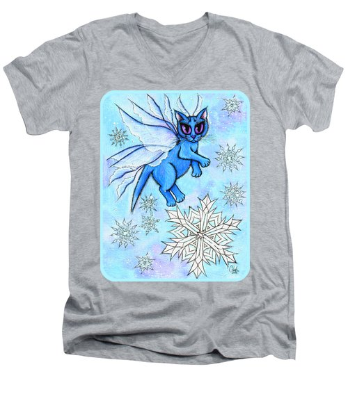Winter Snowflake Fairy Cat Men's V-Neck T-Shirt
