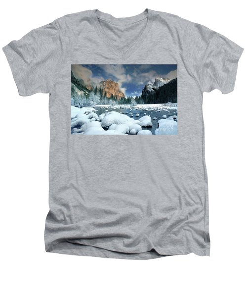 Men's V-Neck T-Shirt featuring the photograph Winter Storm In Yosemite National Park by Dave Welling